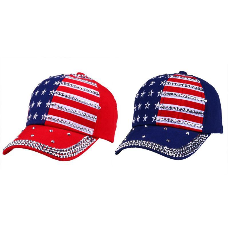 Women American Flag Print Baseball Cap Stripe Star Rhinestone Denim  Snapback Casual Sports Hat Cool Hats Lids Hats From Arrowhead 80f888b54e