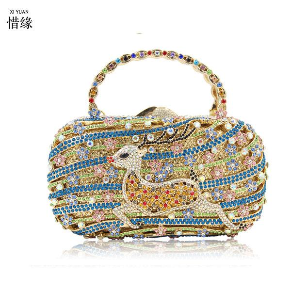 Women Gold blue purple Bags Fashion Evening Crystal Bag Ladies Day ... ca3069087242