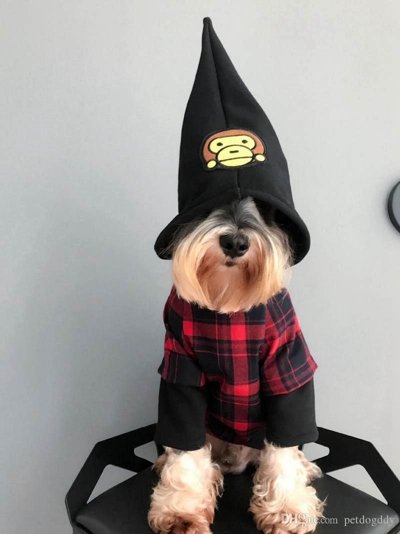 Dog Apparel Halloween Wizards Cap Plaid Sweater Cotton Casual Pet Apparel Bulldog Teddy Schnauzer Apparel Luxury Brand Dog Clothes