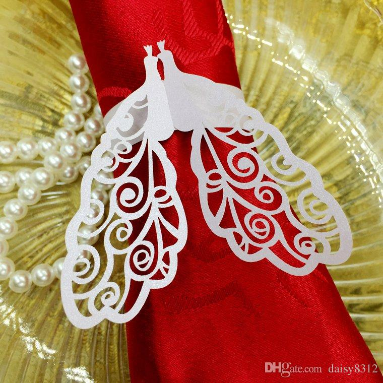 Laser Cut Hollow Peacock Paper Card Napkin Ring Serviette Buckle Holder Hotel Wedding Party Favour Decoration