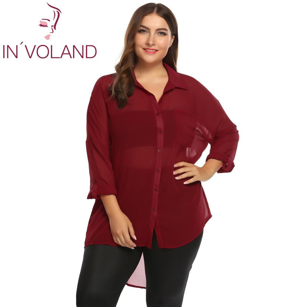 694344f5eb1 IN VOLAND Plus Size Women Blouse Blusas Tops XL 5XL Spring Autumn Roll Up  Sleeve High Loose Chiffon Button Down Pullover Shirt UK 2019 From Xinpiao