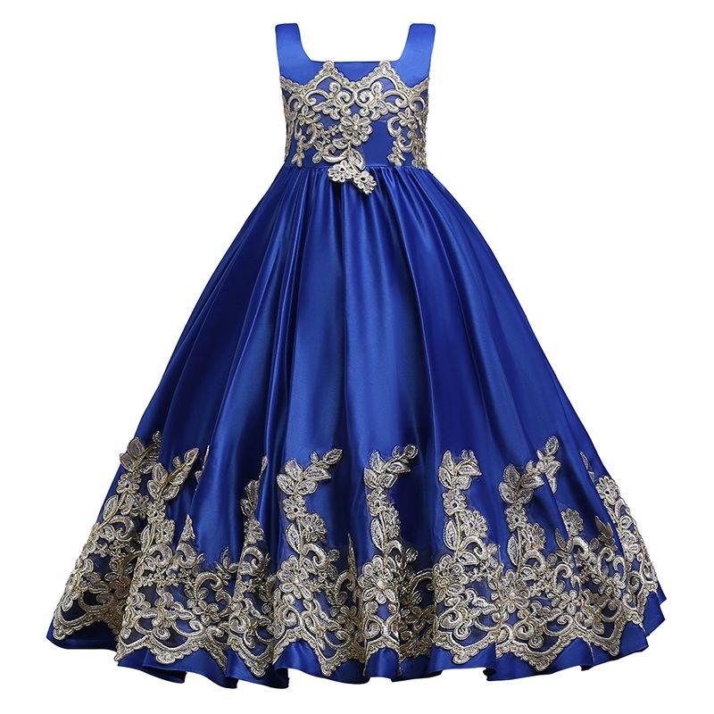 Royal Blue Flower Girl Dresses 2018 Appliqued bambini in cotone da sera Prom Gowns Pageant compleanno Comunione Dress MC1626