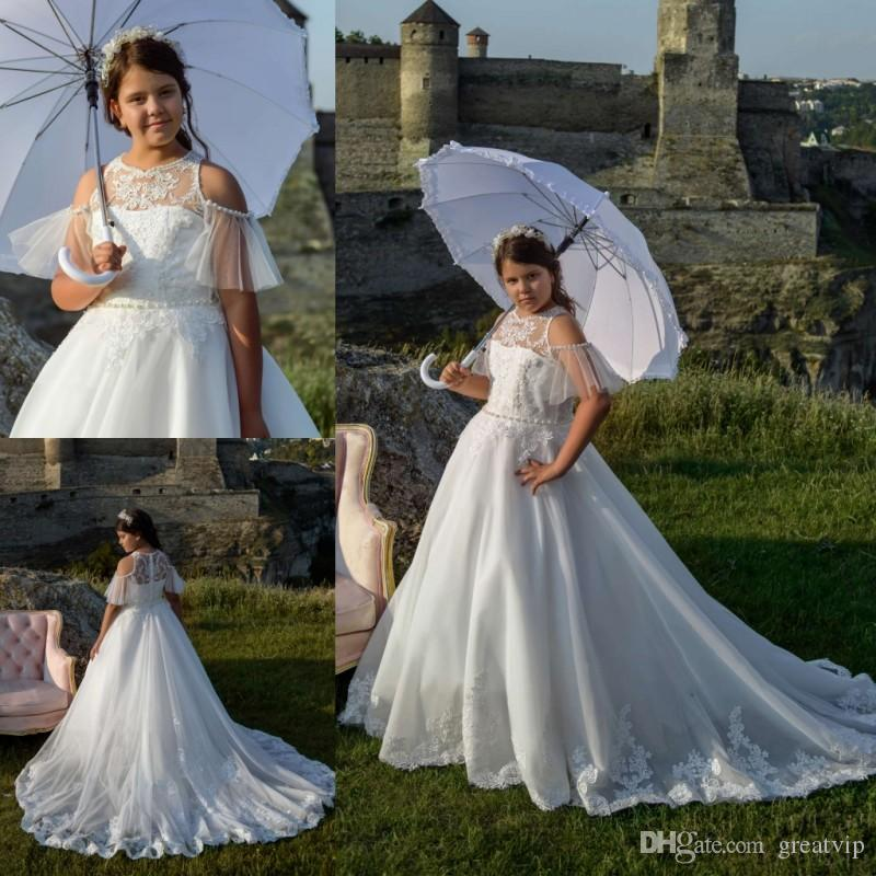 94549756e Flower Girl Dresses Lace Applique Beaded Short Sleeve Pearls Sash Sweep  Train Plus Size Girls Kid S Pageant Dress Princess Party Prom Gowns Buy Flower  Girl ...