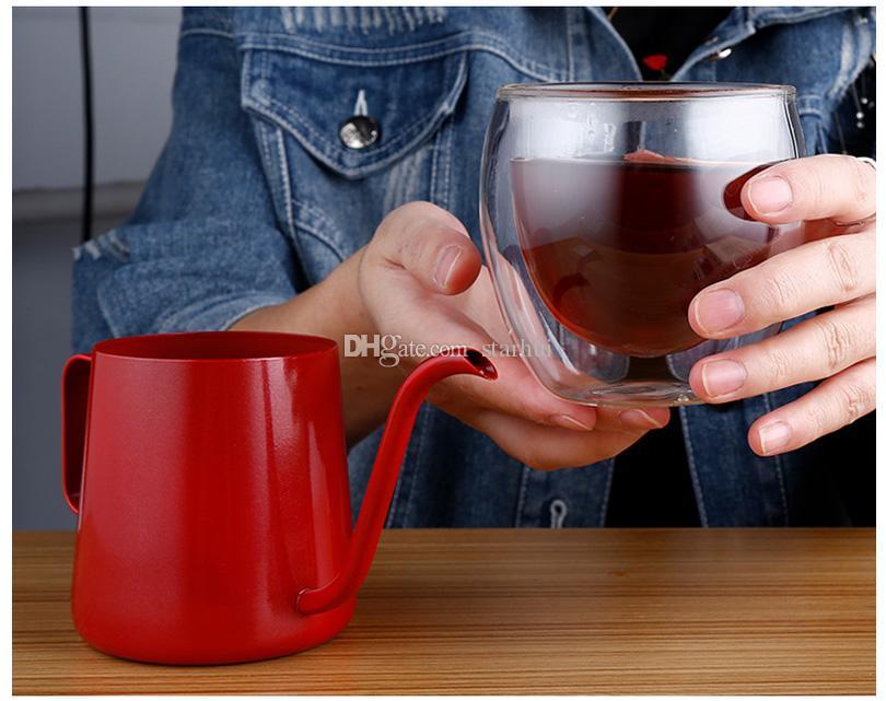 350ml 커피 포트 스테인레스 스틸 거위 목 조끼 커피 메이커 걸기 귀 물방울 커피 긴 주전자 주전자 차 주전자 도구 WX9-350