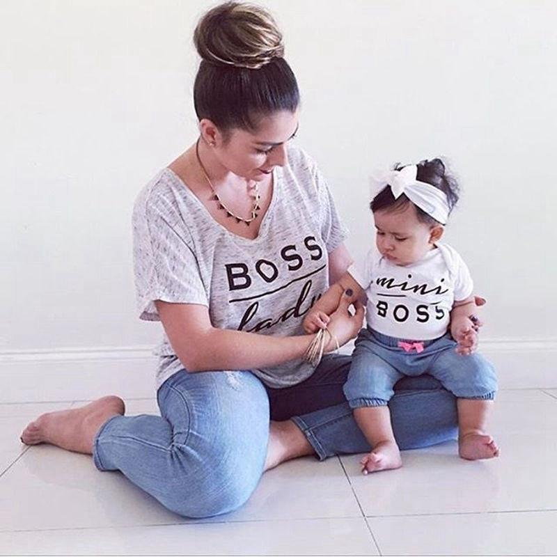 Summer Family Clothing White T-shirts For Dad Son Mother Daughter BOSS LADY MINI Letters Print Couple Family Matching Outfits