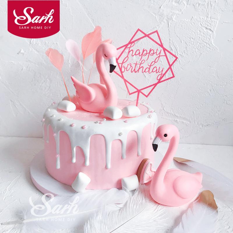 Pink Sitting Flamingo Cake Decorations Acrylic Square