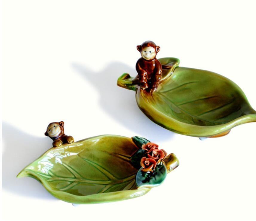 2019 Ceramic Monkey Leaf Ashtray Home Decor Crafts Room Decoration Handicraft Ornament Porcelain Figurine Storage Dish From Dong1226