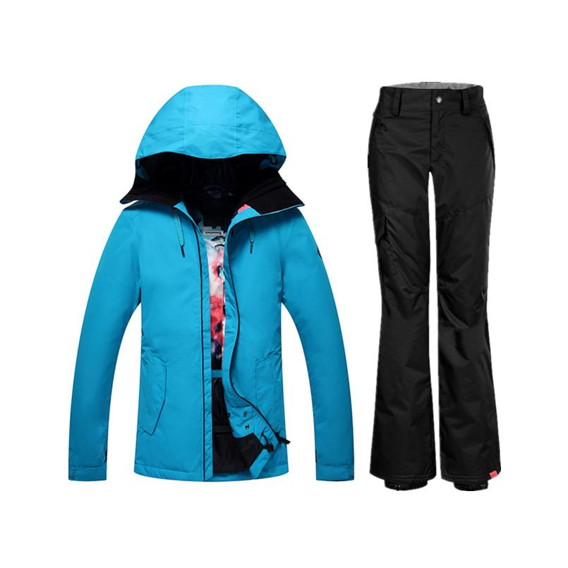 Wholesale- 2018 cheap ski suit female warm waterproof windproof women's winter sports ski suit Gsou SNOW snowboard jacket and pants