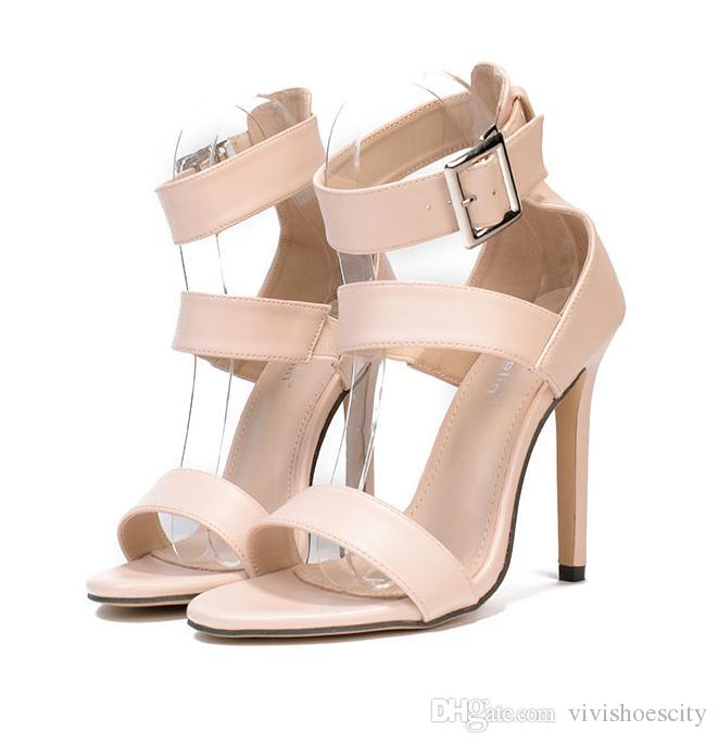 Sexy Beige Buckles Single Sole Stiletto High Heels Ladies Prom Party Shoes  Size 35 to 40 Platform High Heels Luxury Shoes Designer Shoes Online with  ... a1dd053fbafb