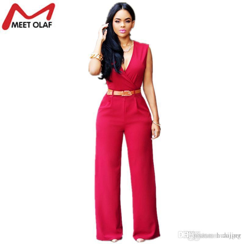 ab0038553b2b 2018 Wholesale Fashion Women Jumpsuits Rompers Hot Casual Sexy V Neck  Sleeveless Female Ol Formal Wide Leg Pant Jumpsuit Overalls Belt Yl340 From  Huaijing