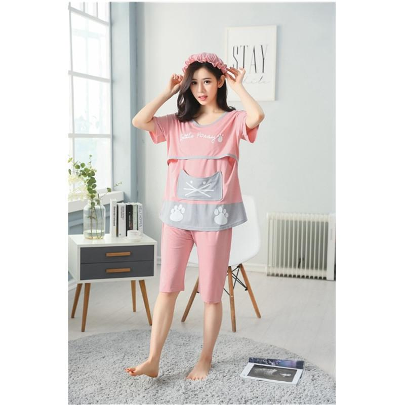554c2bbb2de98 2019 Maternity Nursing Summer Pajamas For Pregnant Women Daily Wearing  Pregnancy Clothes With Casual Style Pregnancy T Shirt C0001 From Breenca,  ...