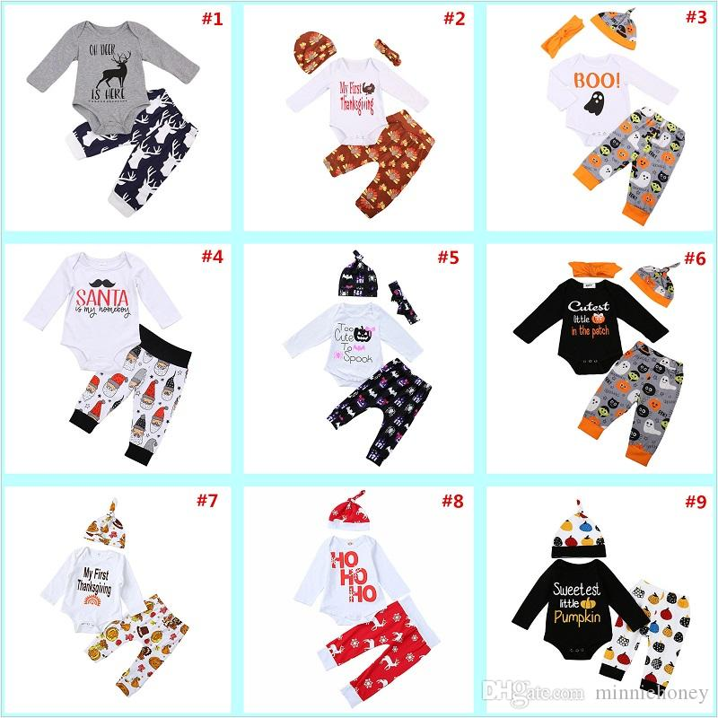 2018 0 2 years baby boys girls christmas xmas halloween custome thanksgiving clothing sets for girl boy romper t shirt pants cap outfits from minniehoney