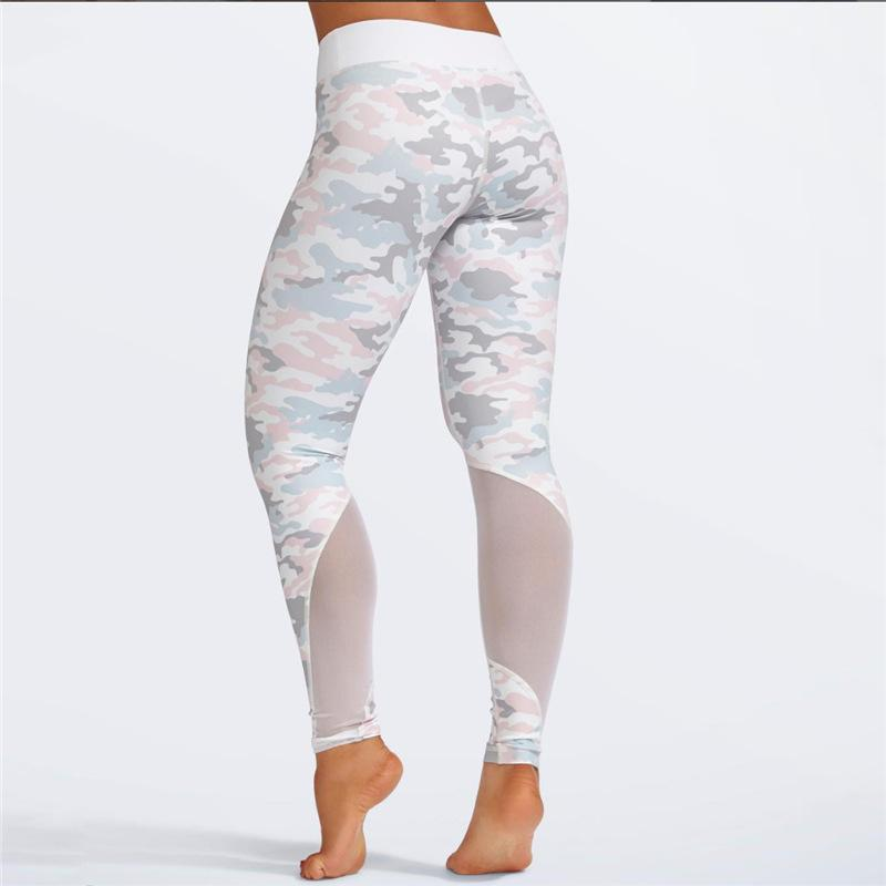 Wholesale freies Verschiffen-Frauen-Yoga-gesetztes Sport-Klage-Tarnungsdruckausbildungsspitzenhosen im Freiensportkleidungeignung laufende Kleidung