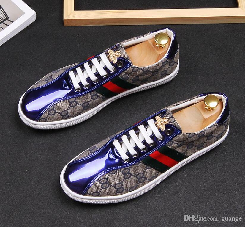 7d29ccec6236 2019 New Style Fashion High Top Men Shoes Spikes Sneakers Shoes Luxury  Designer Rivets Bees Flat Walking Shoe Dress Party Wedding Shoe BM259  Moccasins Boat ...
