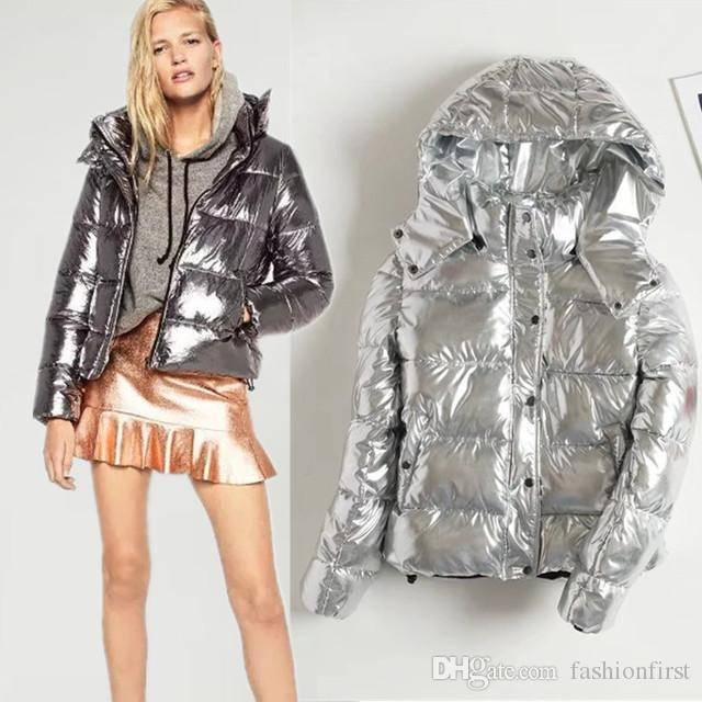 ba7d86b7b33 2019 Black Silver Women Parka Hooded Down Jacket Winter Puffer Trench Coat  Street Style Metallic Gypsy Clothing Single Breasted Parka Womens From ...