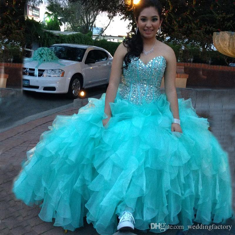 507707761d Aqua Blue Turquoise Quinceanera Dresses 2018 Luxury Crystals Boned Top  Corset Back Sweetheart Sleeveless Ruffled Prom Party Gowns Aqua Quinceanera  Dresses ...