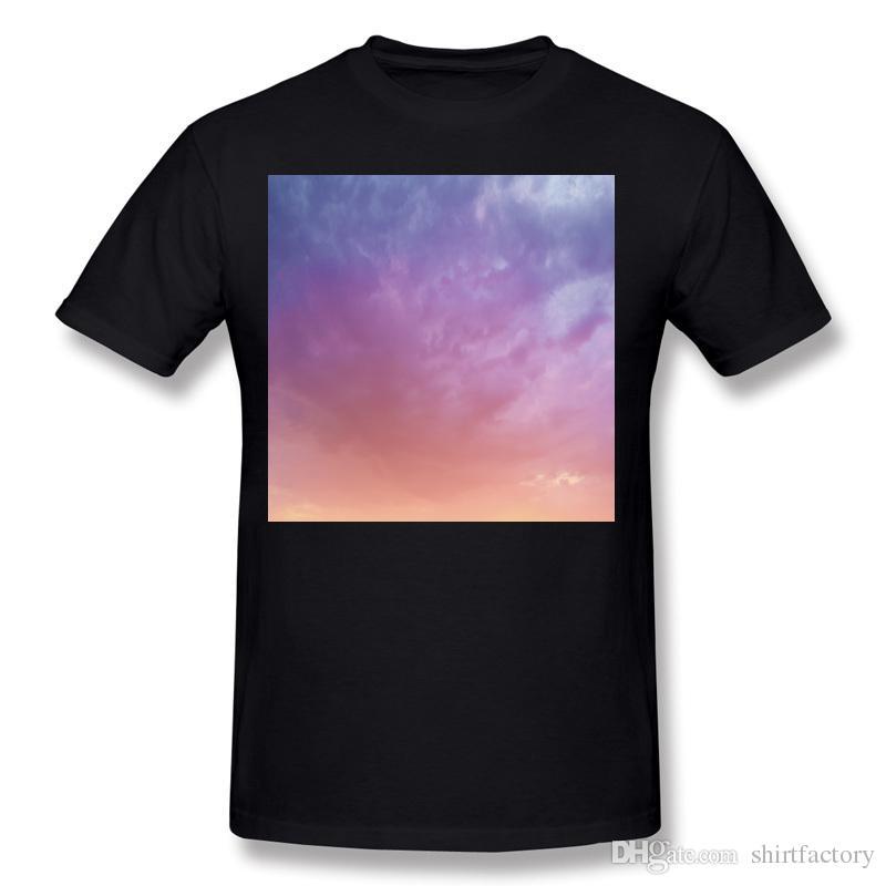 베스트 셀러 남성 100 % 커튼 화려한 하늘 티셔츠 남성 오 넥 화이트 반팔 T 셔츠 대형 재밌 티 셔츠