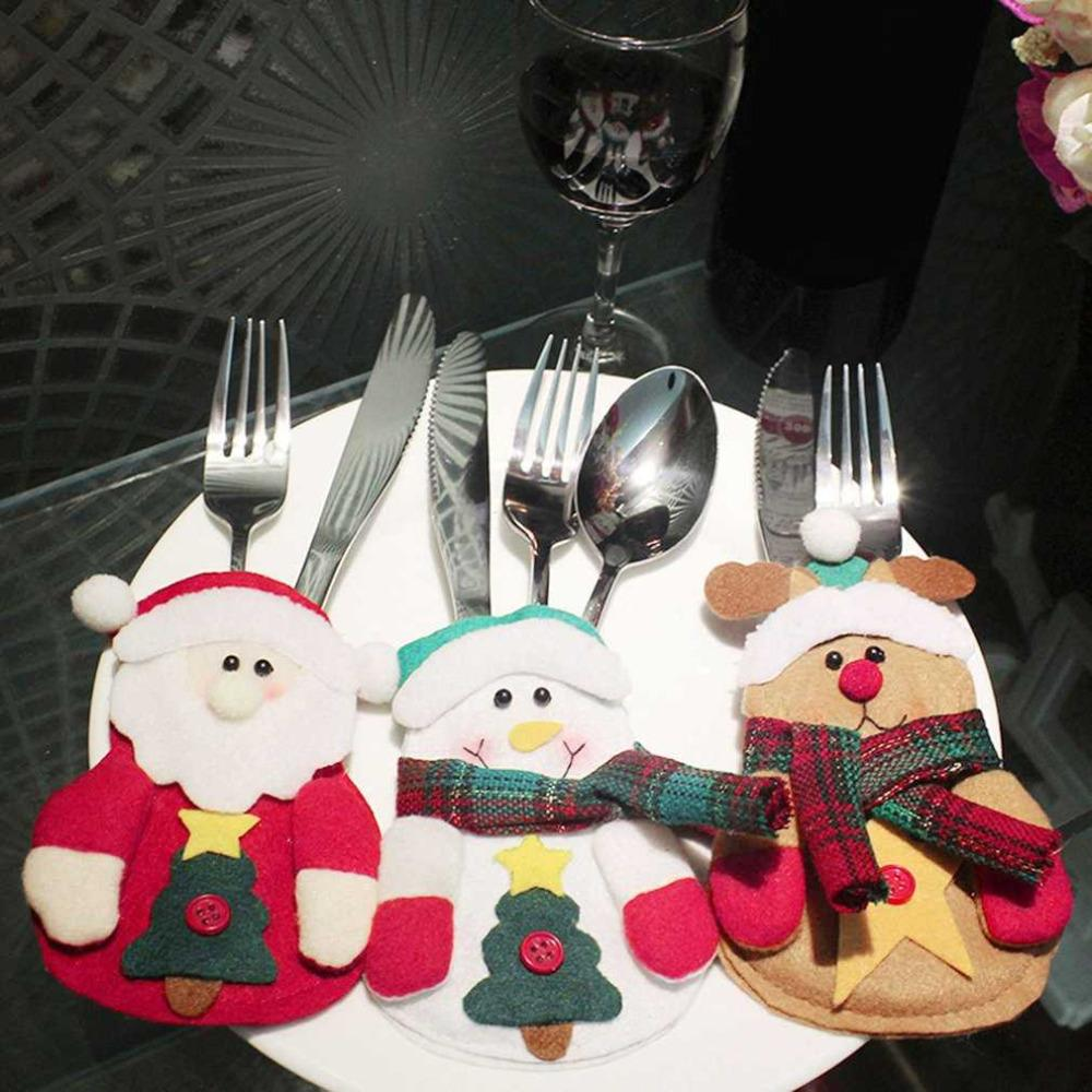 lovely cute christmas decorations kitchen tableware holder dinner cutlery bag table decorations snowman patterns animated christmas decorations beaded