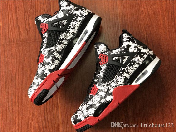 09939034d86735 2019 2018 Authentic 4 Tattoo Fire Red Black White 4S ABS CREW Basketball  Shoes Man Sports Sneakers BQ0897 006 With Original Box From Littlehouse123