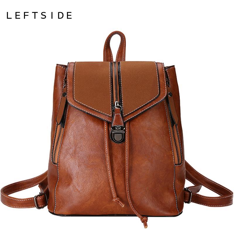 LEFTSIDE Small Backpacks For Women 2018 Female School Bags For Teenage  Girls PU Leather Backpack Shoulder Bag Travel Back Pack Cheap Backpacks  Rolling ... 52eeb1945b