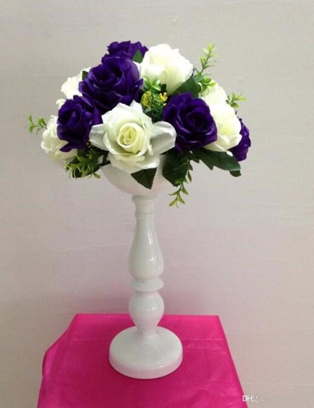 Elegant 37 Cm Height White Metal Flower Vases Wedding Table Flower