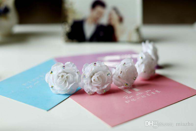 White Fabric Rose Crystal Flower Women Wedding Bridal Girls Hair Accessories Hair Pins Clips Grip Hair Jewelry