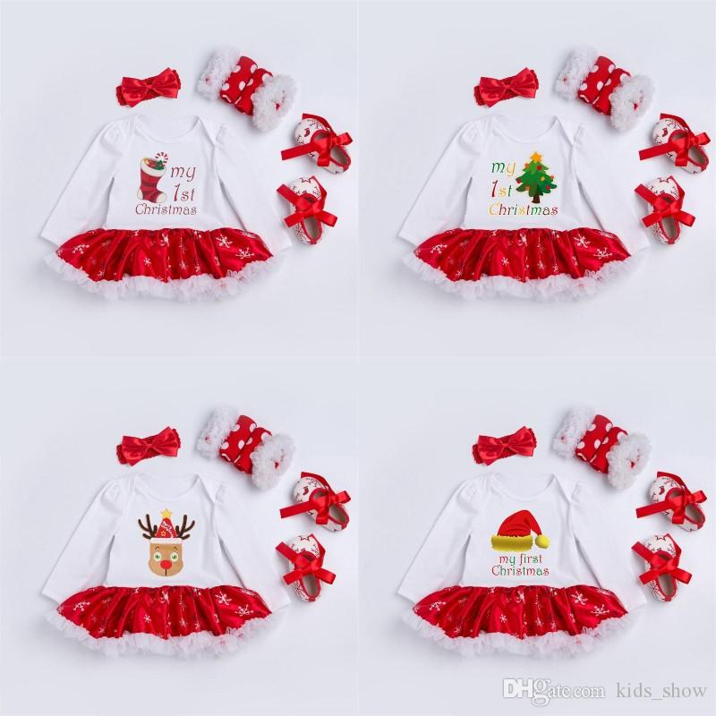 2018 my first christmas clothes set baby girl christmas romper dress set headband leg warmers crib shoes girls christmas outfits boutique gift from