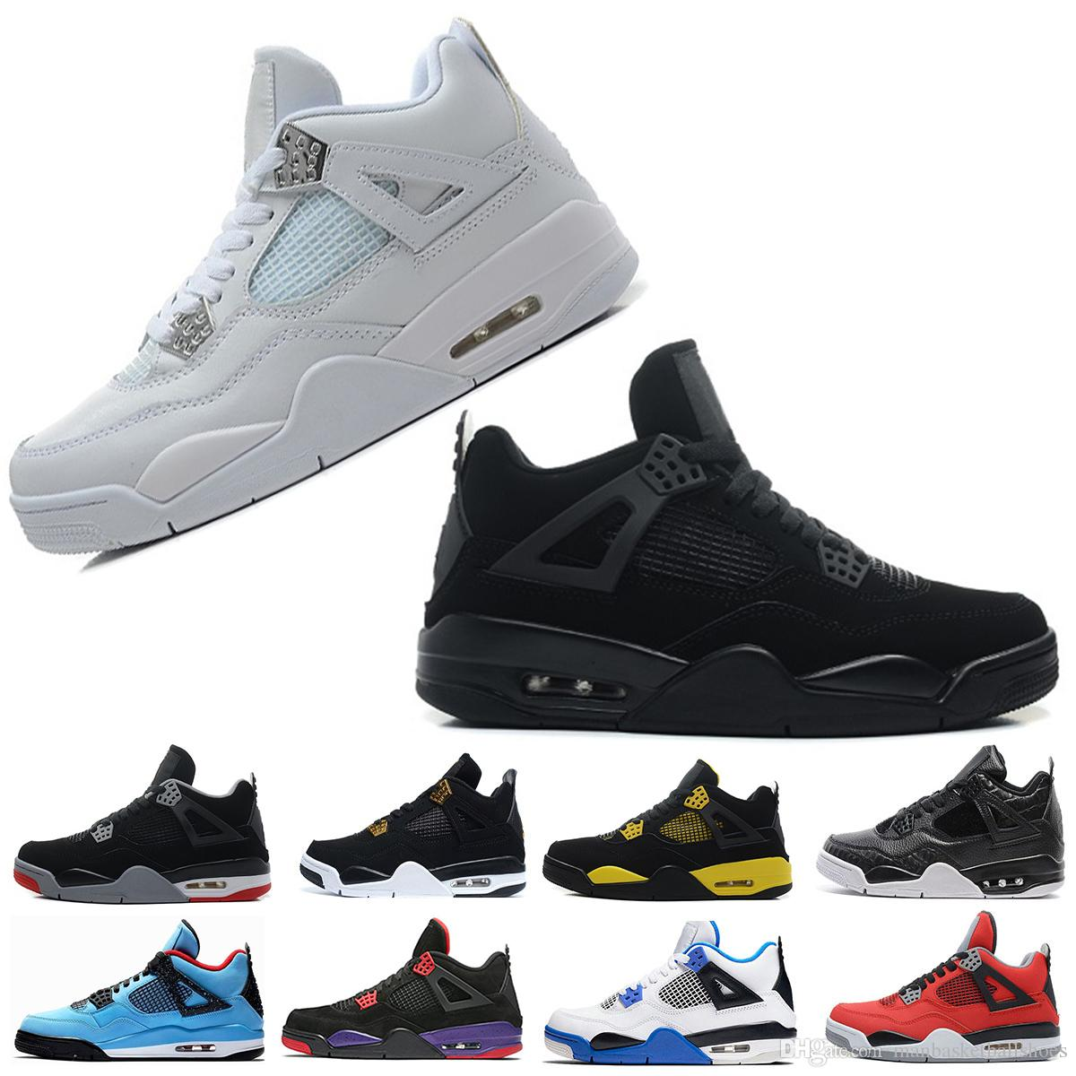 b1c0e405af5 Man Basketball Shoes 4 4S Pure Money Bred Travis RAPTORS White Cement  Premium Black THUNDER Fire Red Sports Man Designer Sneakers Size 8 13  Sneakers Sale ...