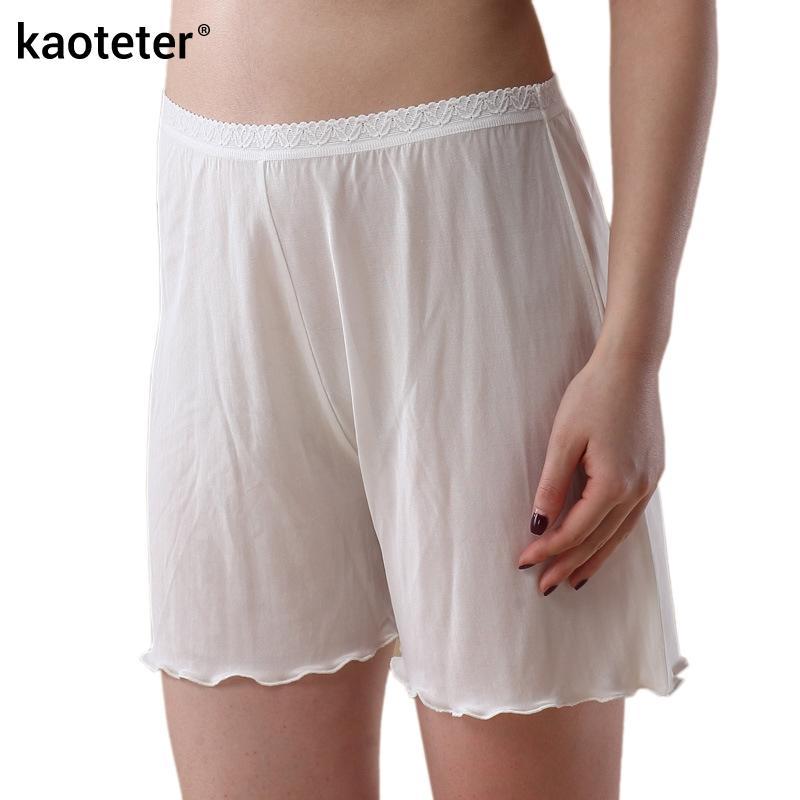 31c5dfe0e32d Venta al por mayor-100% Pantalones cortos de seguridad de las mujeres de  seda Femme Verano Pantalones cortos frescos Calzoncillos Mujer Encaje  Bragas ...