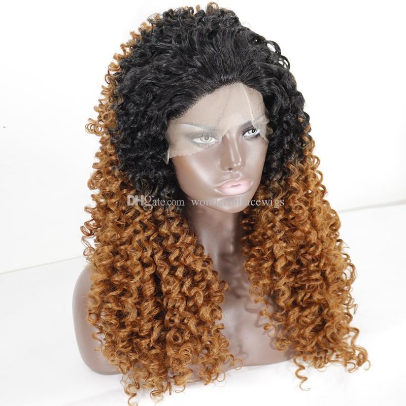 Высокое качество дешевые Ombre парики 1b 30# длинные Ombre вьющиеся кружева передние парики термостойкие синтетические кружева передние парики для черных женщин