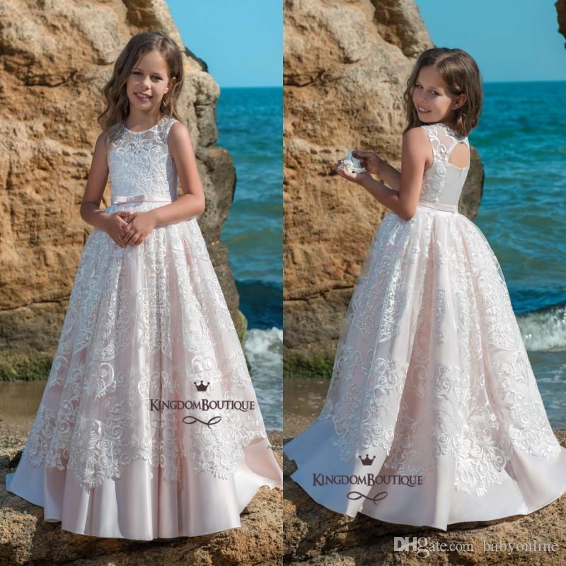 e3d43a40b981 2018 Summer Beach Flower Girl Dresses Light Pink Lace Appliques Sheer Crew  Neck Princess A Line Girls Formal Gowns Birthday Dress Party Wear Flower  Girl ...