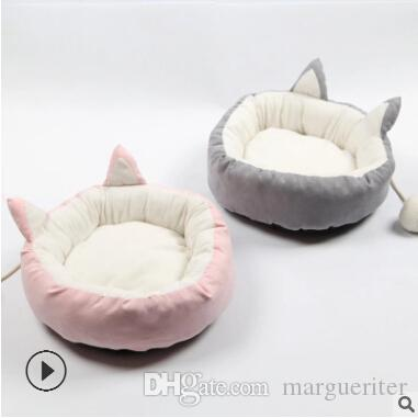 Lovely Pet Bed Cushion Cat Winter Warmer House With Cat Ear Ornament Summer Sleeping Mat Cat Dog Supplies Pink Gray