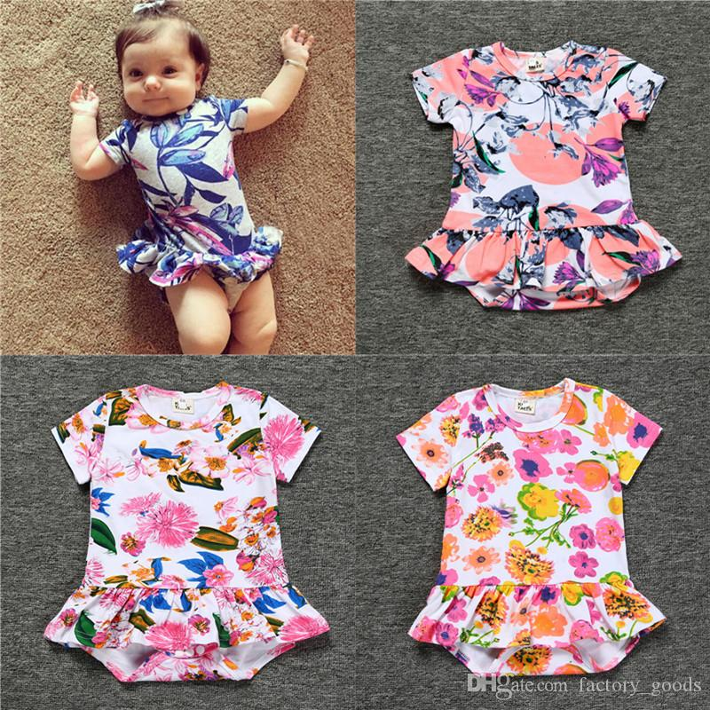 5a6ffd05bdad 2019 Baby Girls Jumpsuits Cotton Floral Printed Rompers Infants Short  Sleeved Dresses For Kids Summer Clothing Factory Free DHL 606 From  Factory goods
