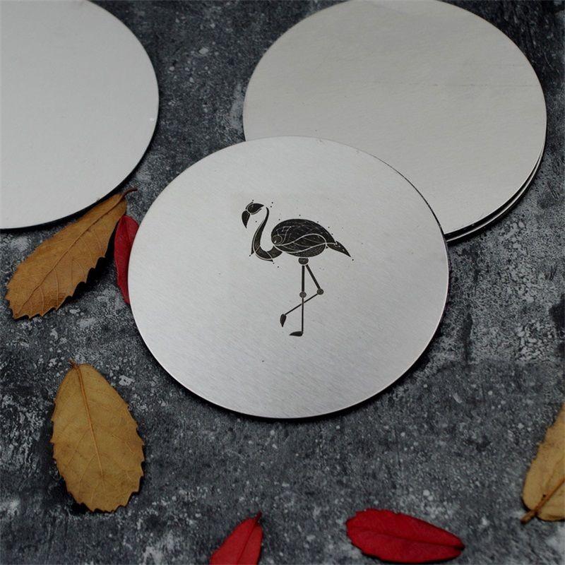 Flamingo Elk acero inoxidable ronda taza de café posavasos Metal aislante alfombra de calor Literary estilo Acking mesa decoración caliente venta 5zx Z
