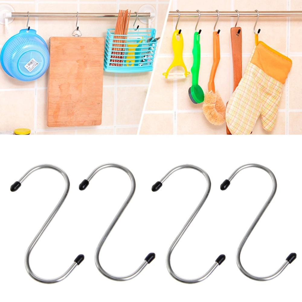 4pcs/lot S Shaped Hooks Stainless Steel Hanger Clasp Rack For Clothes Pot Pan Kitchen Hooks Clasp Holder