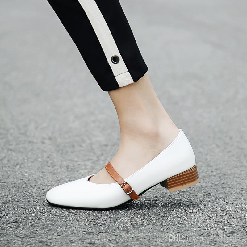 Donna Summer Casual Pumps Mary Jane Casual Summer Style Low Chunky Heels Square   843ce6