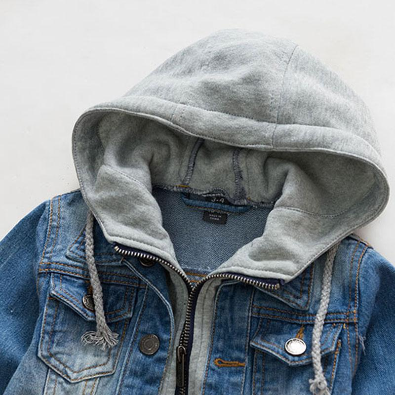 2017 casual spring children clothing kids denim jacket hooded fake two piece baby boy jeans jackets and coats children outerwear