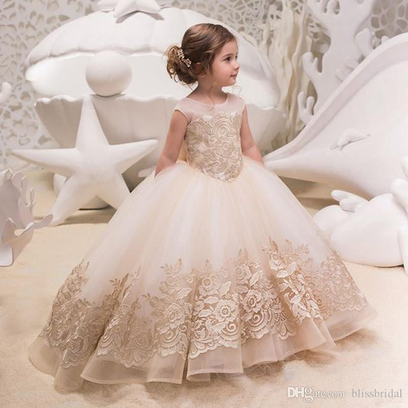 bb0617c88 A-Line Applique Tulle Princess Girls Formal Occasion Dresses with ...