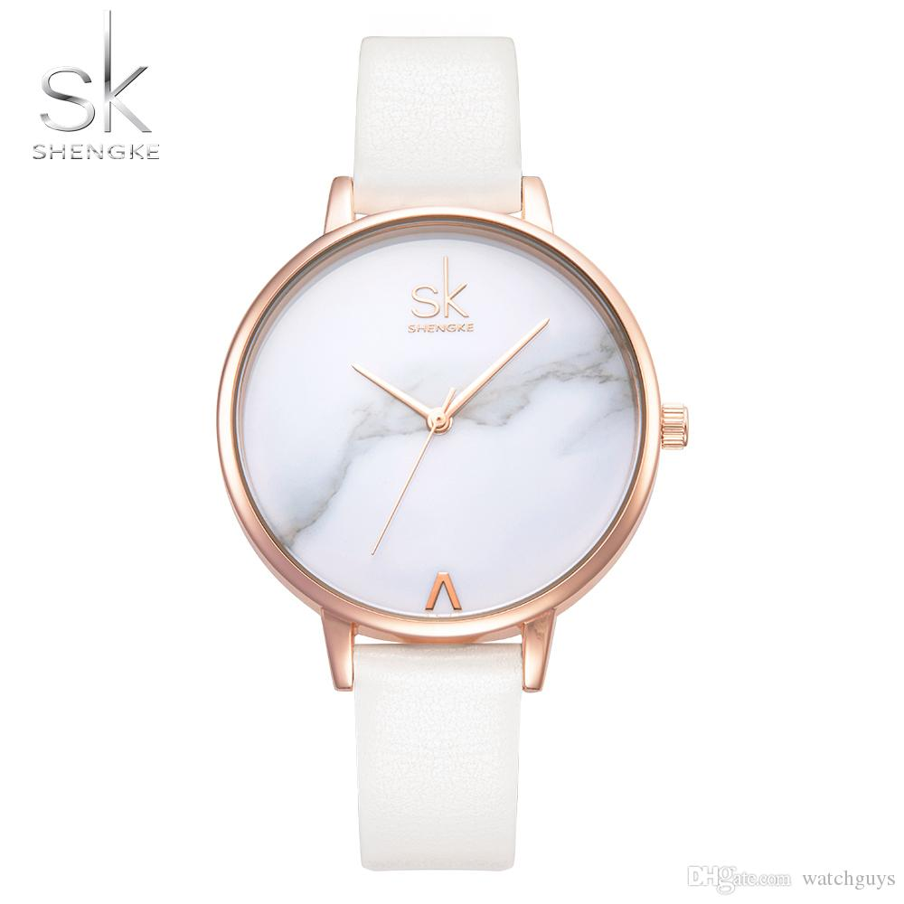 ac13c3b58 Shengke Top Brand Fashion Ladies Watches Leather Female Quartz Watch Women  Thin Casual Strap Watch Reloj Mujer Marble Dial SK Watches Shop Online Watch  Shop ...
