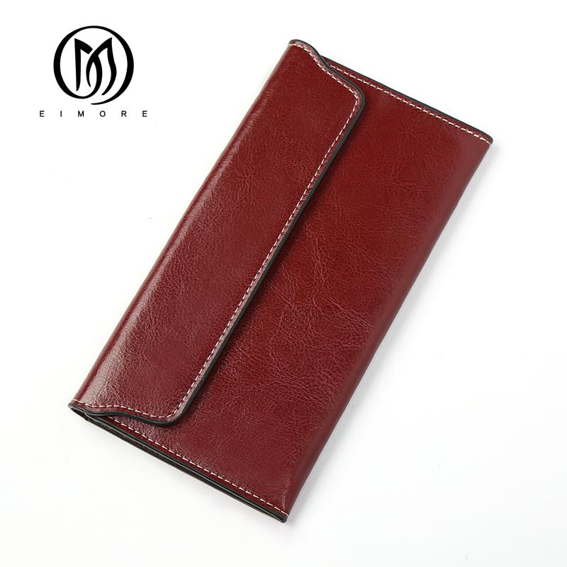 859c76c3a4c8 EIMORE 2018 Genuine Leather Womens Wallet Long Purse Thin Ladies Wallet  Simple Multiple Cards Holder Cluth bag Billetera Mujer