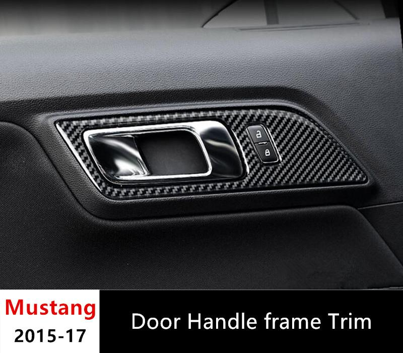 Carbon fiber door handle frame trim interior decor for ford mustang 2015 2017 car styling for Carbon fiber mustang interior parts