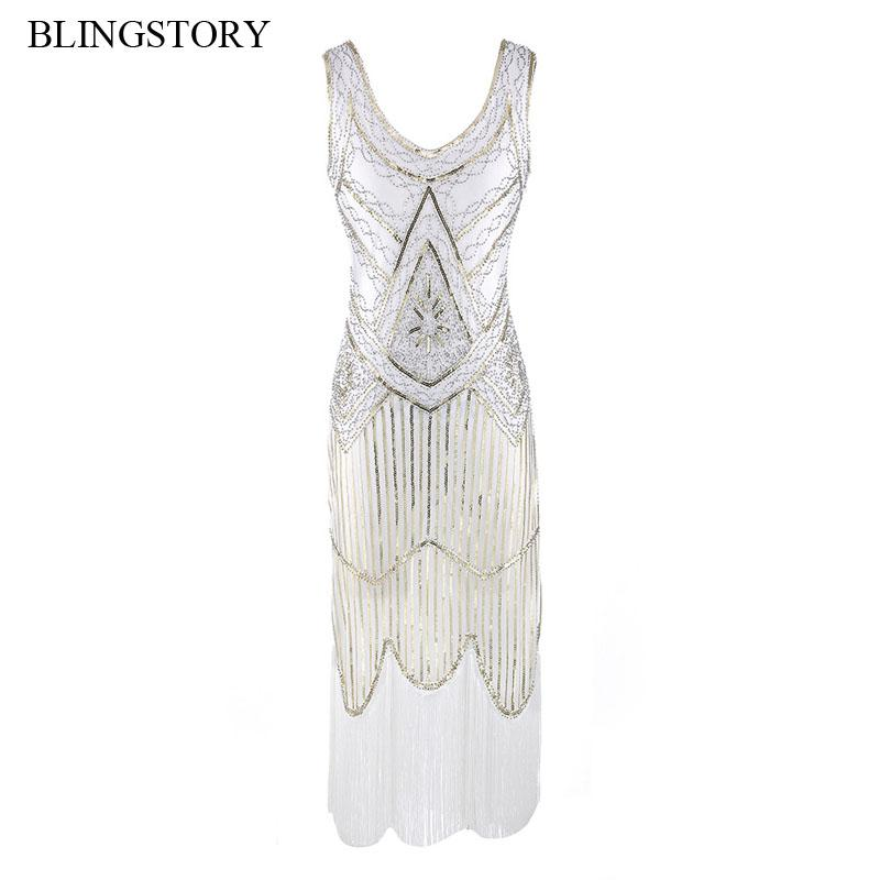 Großhandel BLINGSTORY Vintage 1920er Jahre Tassel Great Gatsby Kleid Frauen  Pailletten V Ausschnitt Perlen Pailletten Art Deco Flapper Dress WZD001 Von  ... da2cb784ce