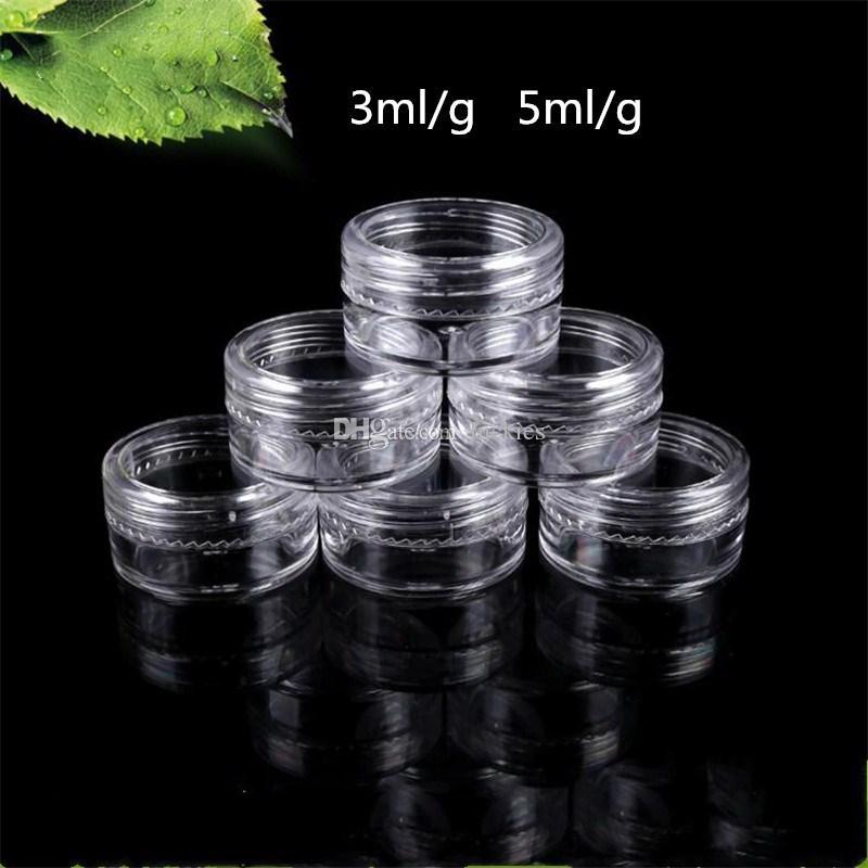 3 Gramos Tarros de plástico de 5 gramos Tarros de 3 ml Tarro de contenedores cosméticos de 5ML Muestra vacía de plástico transparente Crema de ojos Contenedores rellenables 0110