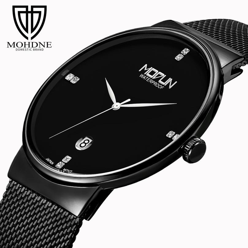 e266fd3f3e93 Compre Venta Caliente Para Hombre De Acero Inoxidable Tira De Malla De  Negocios Reloj De Cuarzo Mineral De Vidrio Calendario De Moda Simple Reloj  De Pulsera ...