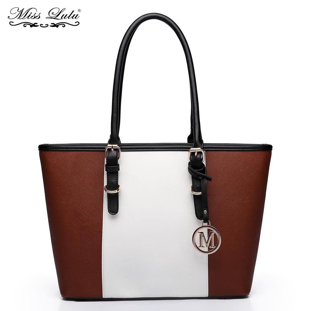 155475b0f0e9 Miss Lulu Women Designer Celebrity Handbags Female PU Leather M Fashion  Center Stripe Shoulder Bags Ladies Large Tote Bag YD1661 Travel Purse  Branded ...