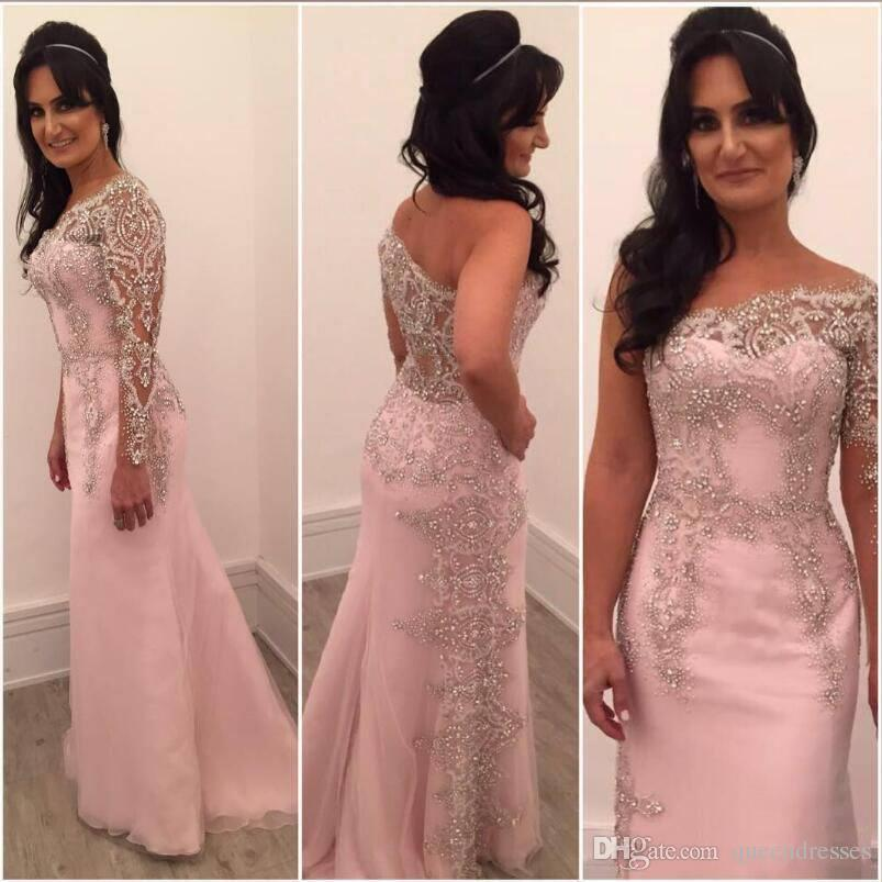 Fashion Pink Long Sleeve Prom Dresses 2018 Cheap One Shoulder Tulle ...
