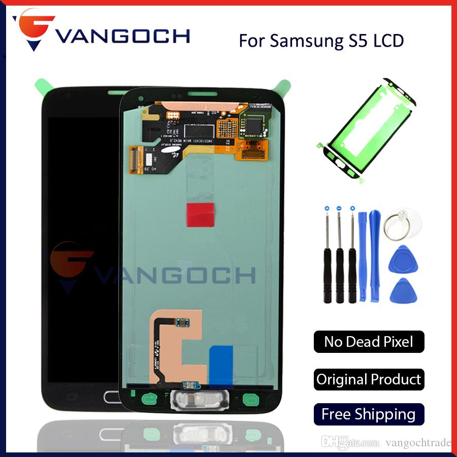 Original Quality for Samsung Galaxy S5 I9600 G900A G900F LCD Assembly  Display Touch Screen Digitizer With Home Button Flex Replacement