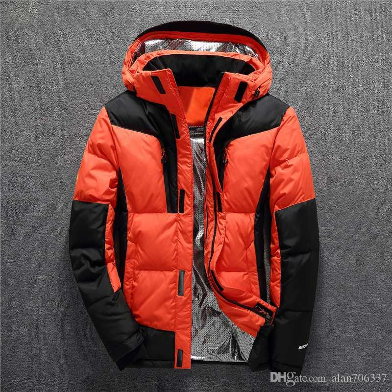 Hooded Thick 80% White Duck Down Padded Jackets Men Fashion Patchwork Down Coats Man Overcoat Male Keep Warm Winter Coats 8003