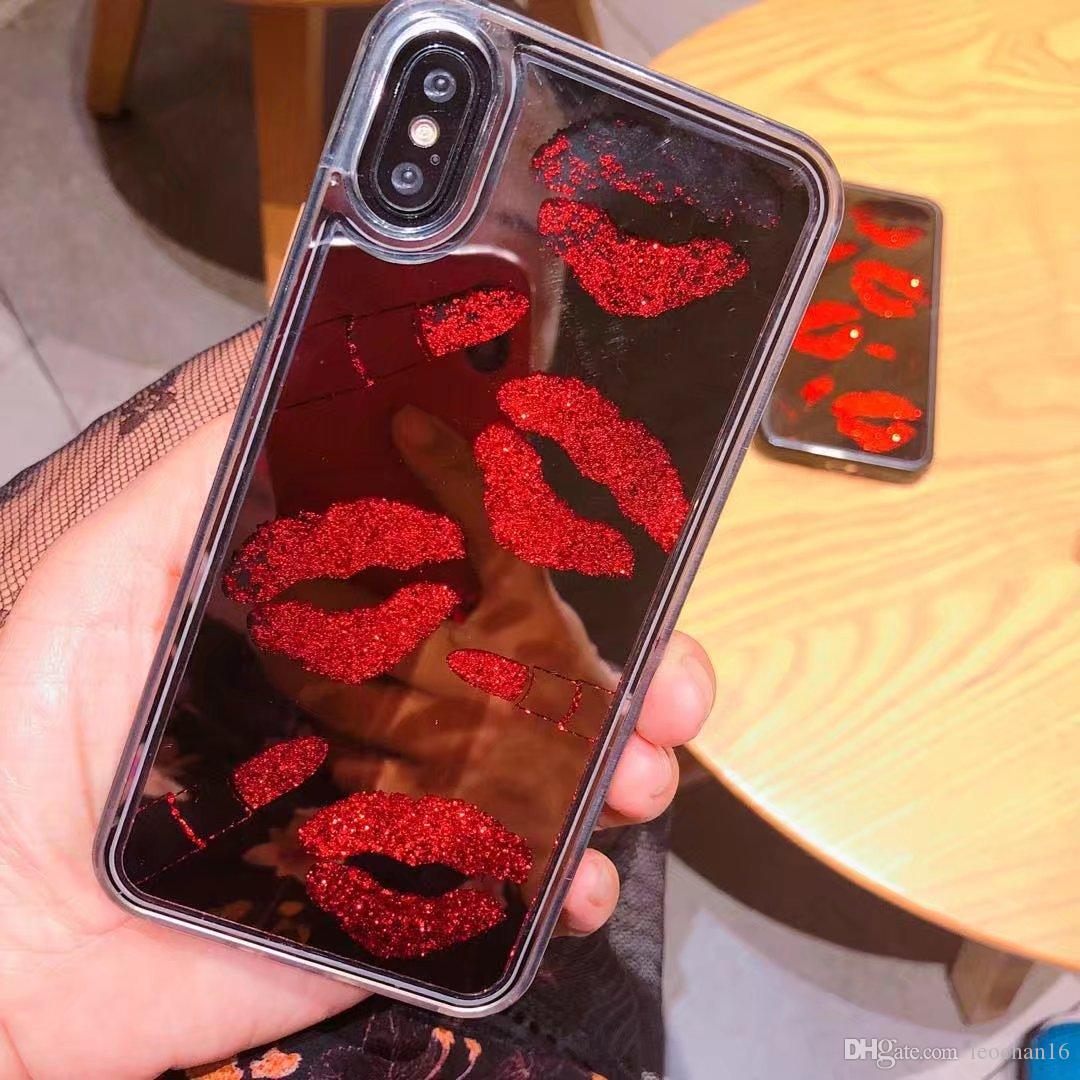 Stylish Bling Gloss Sexy Lips Phone Case Quicksand Glitter Kiss Lipstick Glossy Back Cover Mirror Shell for iPhone X 4.7 5.5