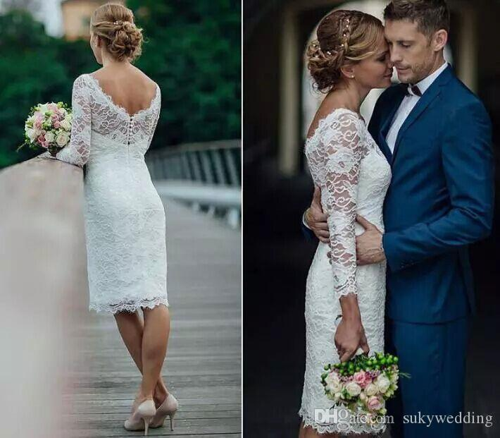 compre 2018 elegante corto de encaje de verano vestidos de novia
